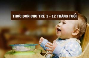 Thực đơn dinh dưỡng dành cho trẻ từ 1 - 12 tháng tuổi
